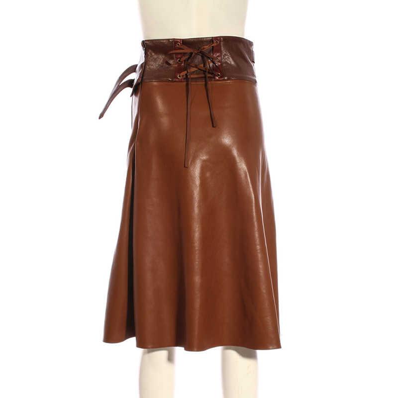 6a9d2cbd3 ... Vintage Punk Long Skirt Women A-line PU Leather Belt Skirt COFFEE  SP214CF ...