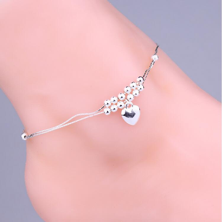 Min order 10 Free shipping Wholesale 2016 Hot Sale Silver Plated Heart Double Chains Foot Anklets