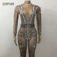 Sparkly Crystals Jumpsuit Big Rhinestones Stretch Bodysuit Performance Women's Birthday Celebrate luxurious Sexy Costume Wear