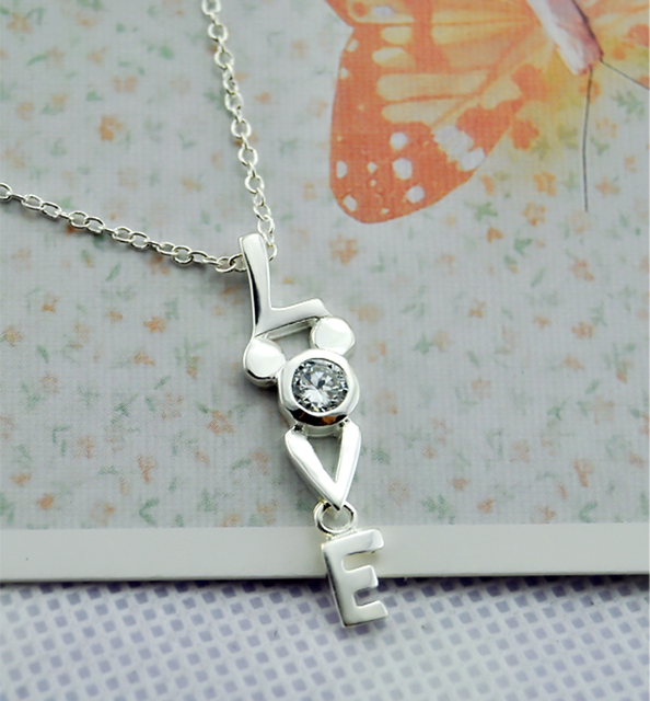 Valentine's day birthday present LOVE Necklace 100% 925 Sterling Silver Simple Pendant Chocker Fashiont Woman Silver Jewelry 5