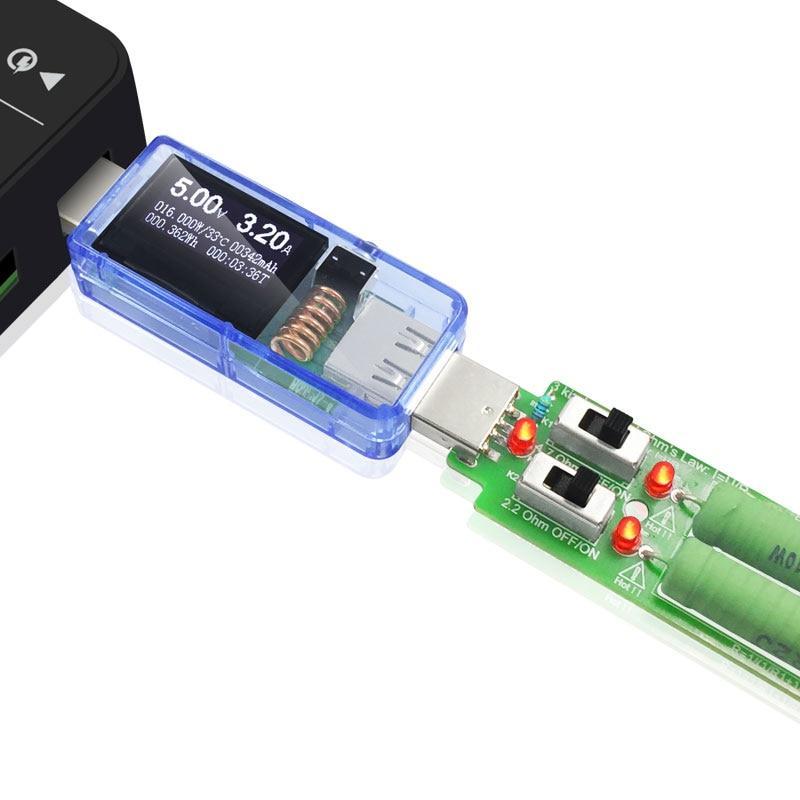 ATORCH USB testeris + apkrova DC Skaitmeninis voltmetras amperimetro - Matavimo prietaisai - Nuotrauka 3