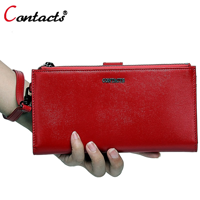 Contact's Zipper Women Wallet Female Genuine Leather Wallet Women Purses Red Leather Clutch Credit Card Holder Phone Coin Purse new designer purse girl kawaii bag with zipper pu leather coin purses small women s wallet teen girl credit card pack 45