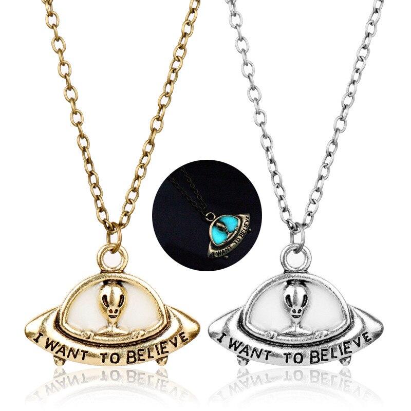 Светящаяся античная бронза инопланетянин кулон НЛО ожерелье с гравировкой я хочу верить винтажное светящееся в темноте ожерелье-30