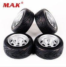4 Pcs/Set Flat Rubber Tires and Wheel Rim with 6mm Offset and 12mm Hex fit 1/10 HSP HPI RC On Road Racing Car Accessories sand wheel completed set with posion rim for hpi km rovan baja 5b