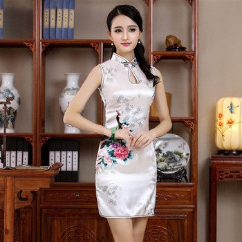 Hot Sale Women s Sleeveless Sexy Qipao Chinese Style Mandarin Collar  Cheongsam White Print Flower Mini Dress S M L XL XXL JY055 b34334fe9f92