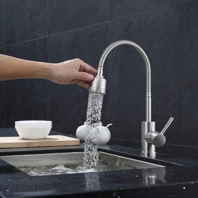 Kitchen Faucet 304 Stainless Steel Modern Universal Cold And Hot Water Sink  Tap Mixer Double Hole