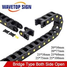WaveTopSign кабель цепной мост Тип с обеих сторон отверстие 20x50 20x77 25x38 25x60 25x75 25x100 мм пластиковая буксировочная передача