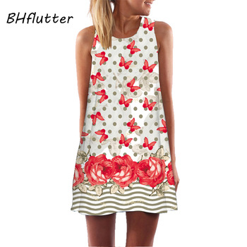 BHflutter Women Dress 2018 New Arrival Rose Print Sleeveless Summer Dress O neck Casual Loose Mini Chiffon Dresses Vestidos 1