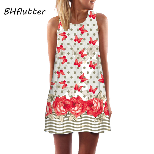 BHflutter Women Dress 2018 New Arrival Rose Print Sleeveless Summer Dress O neck Casual Loose Mini