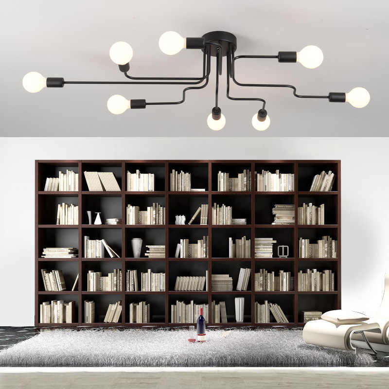 LED Chandelier Lighting Fixtures Lustre Vintage Led Lamp Industrial Kitchen Living Room Black Avize Modern Plafonnier Night Lamp