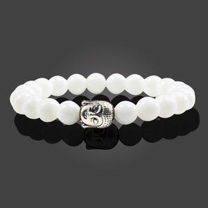 Image 3 - טרנדי טבעי אבן לבה גדיל צמידי מתכת בודהה ראש חרוזים תפילת קסם צמידים & צמידי תכשיטי עבודת יד מתנות