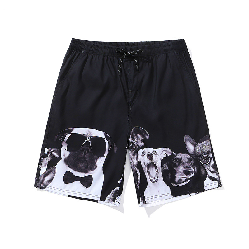 Cute Pug Mens Beach Shorts Swim Trunks Stripe Quick Dry Casual Polyester Swim Shorts