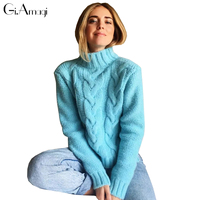 New Turtleneck Knitted Pullover Sweater Women Coarse Needle Soft Jumper Pull Femme Autumn Winter 2017 Warm Knitting Sweater