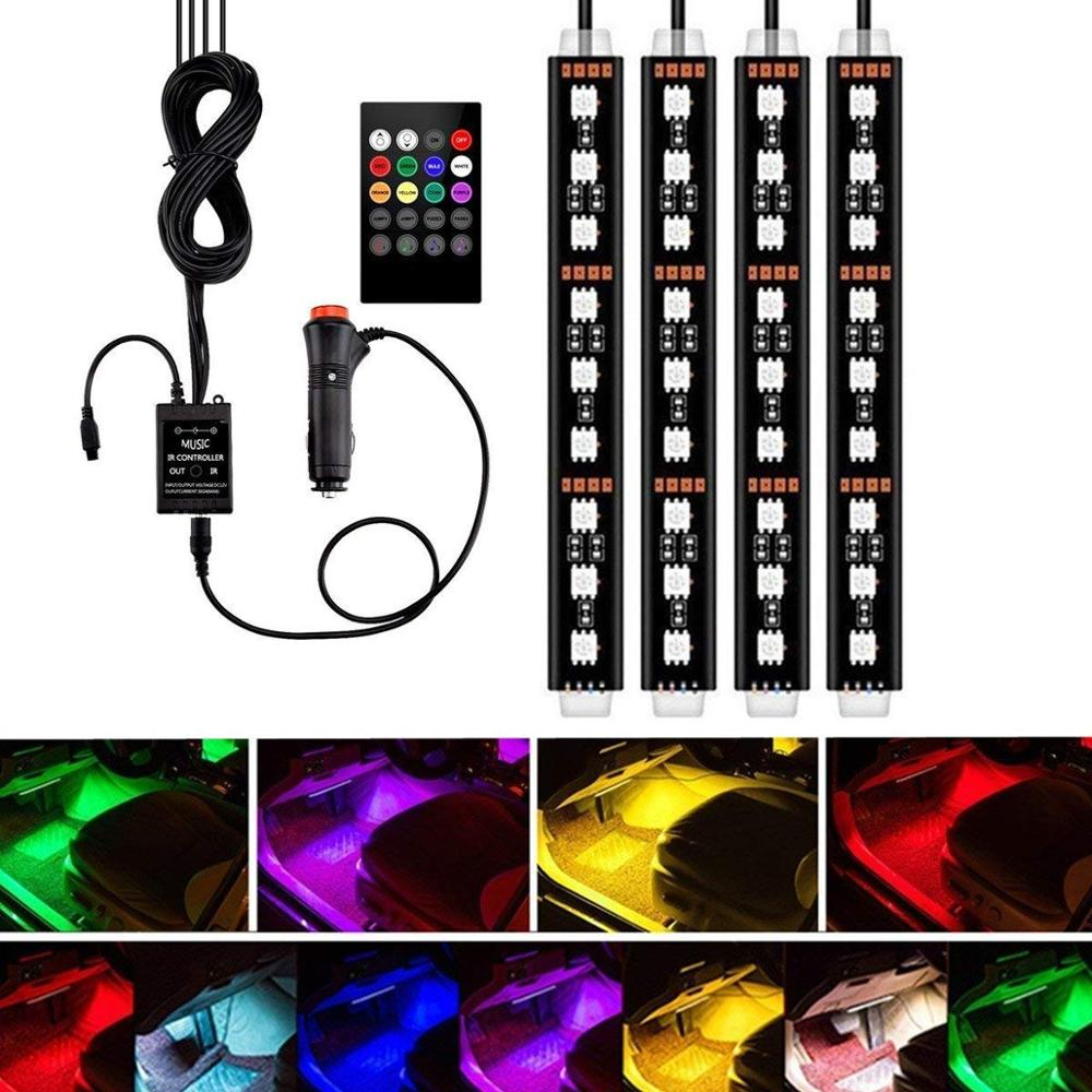 4pcs Car RGB LED Strip Light LED Strip Lights Colors Car Styling Decorative Atmosphere Lamps Car Interior Light With Remote-in Decorative Lamp from Automobiles & Motorcycles