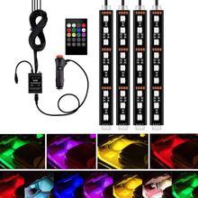 Luces de tira LED RGB para coche de 4 piezas, luces de tira LED, colores, luces decorativas para coche, lámparas de atmósfera, luz Interior para coche con control remoto