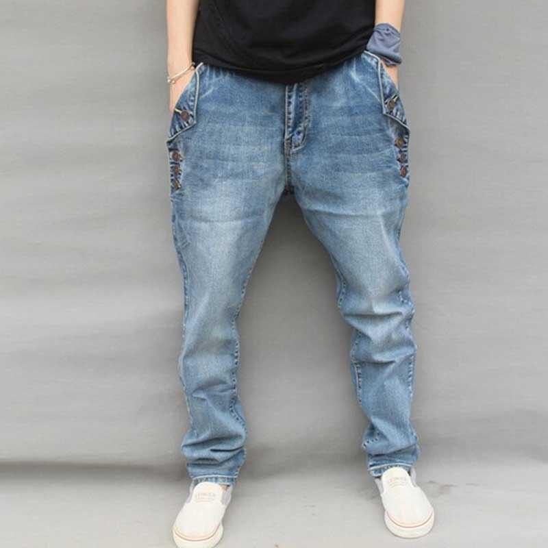 Erkek Kıyafeti'ten Kot Pant.'de Yehan erkek Baggy Harem Kot Artı Boyutu Streç Kot Erkekler Düğme Gevşek Hip Hop Kot Vaqueros Hombre Denim m 6XL'da  Grup 2