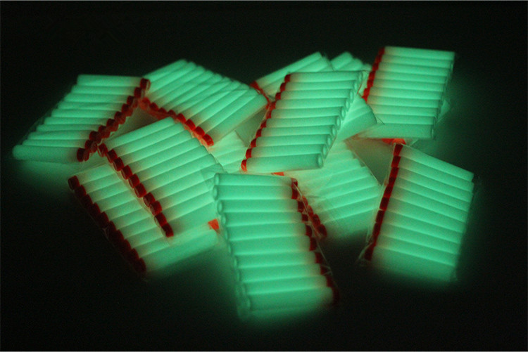 20pcs White Luminous Soft Bullet Head Foam Bullets For Nerf N-strike Elite Series 7.2*1.3cm
