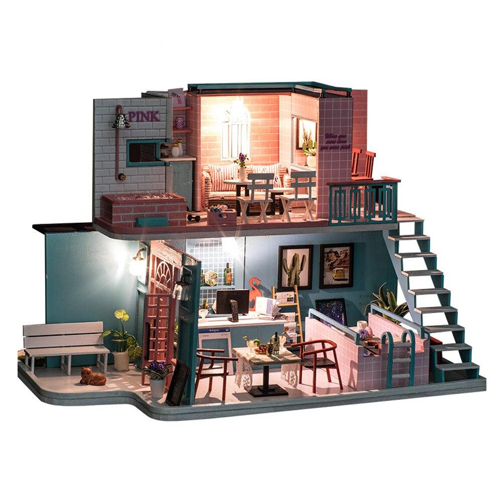 Bricolage Poppenhuis Houten poppenhuizen Miniatuur Poppenhuis Meubels Kit 3D Miniature maison jouets éducatifs