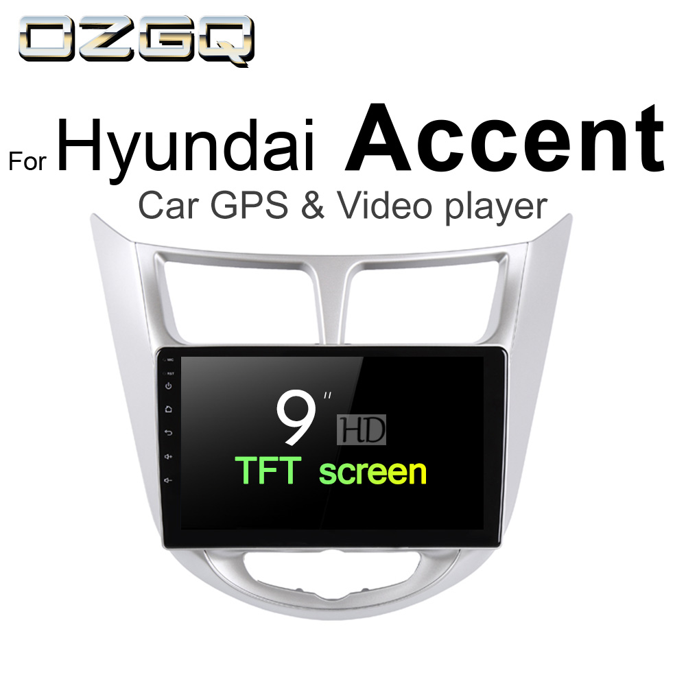 OZGQ Android 7.1 Car Player For Hyundai Accent , Blue / WIT 2010-2017 Screen Auto GPS Navigation BT Radio TV Audio Video Stereo цена