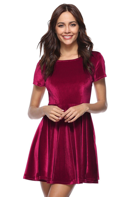 Women Dress Zanzea Vadim Regular Above Knee, Mini O-neck Summer Loose Natural Polyester Real 2018 New Style Womens Velvet Dress