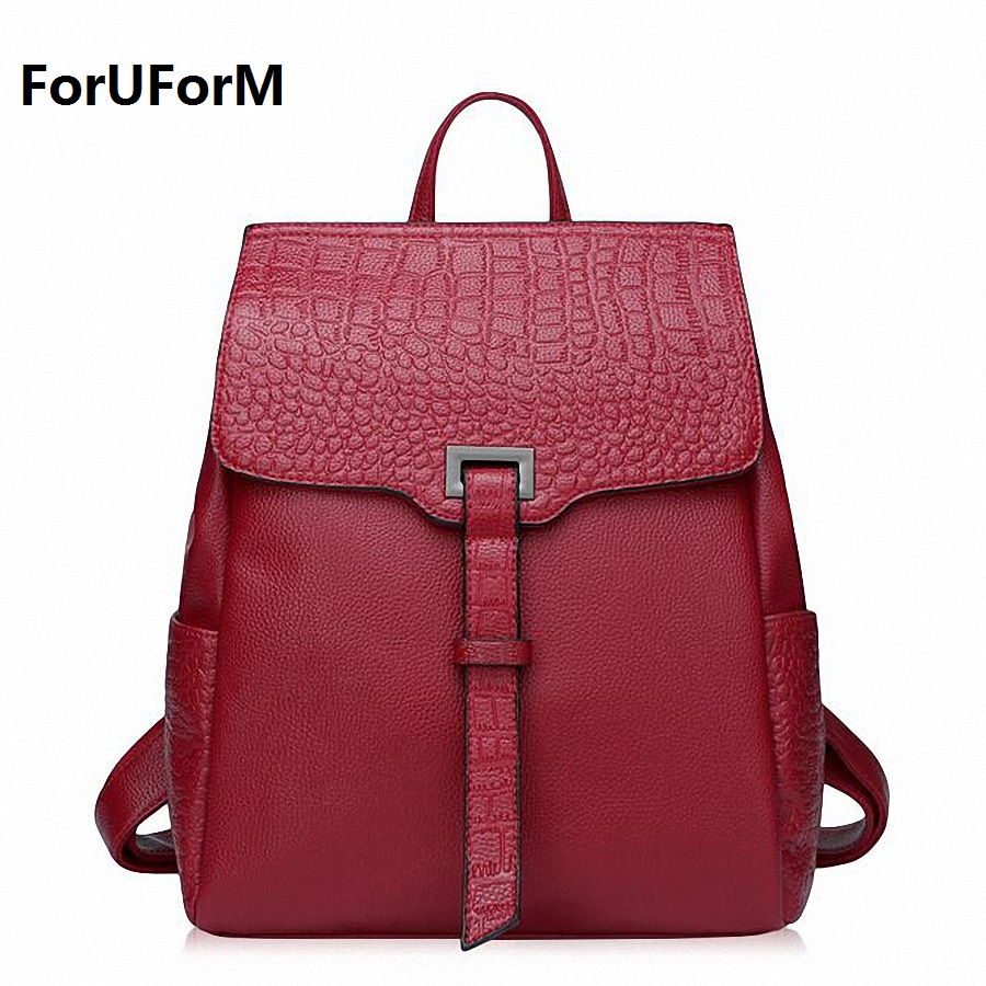 ForUForM Genuine Leather Backpack Women Preppy Style crocodile Backpack Girls School Bags Zipper Shoulder Women BackPack LI-1717 nawo fashion genuine leather backpack rivet women bags preppy style backpack girls school bags zipper large women s backpack sac