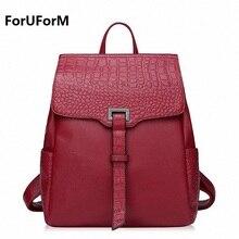 Foruform натуральная кожа рюкзак женские Элегантный дизайн крокодил рюкзак для девочек школьные сумки молния плеча женщины рюкзак LI-1717