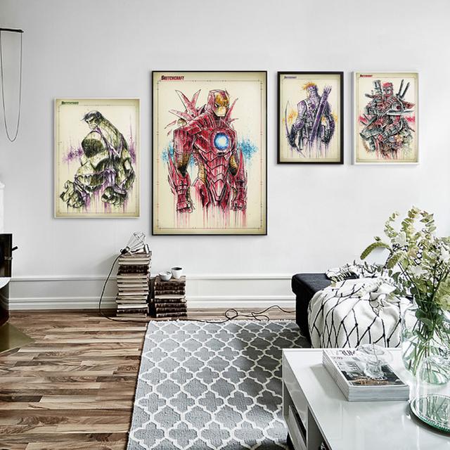 Marvel Comics Avenger Union Iron Man Hulk Giant Splash Painting Art Canvas Print Life Modern Home Children Bedroom Wall Decor