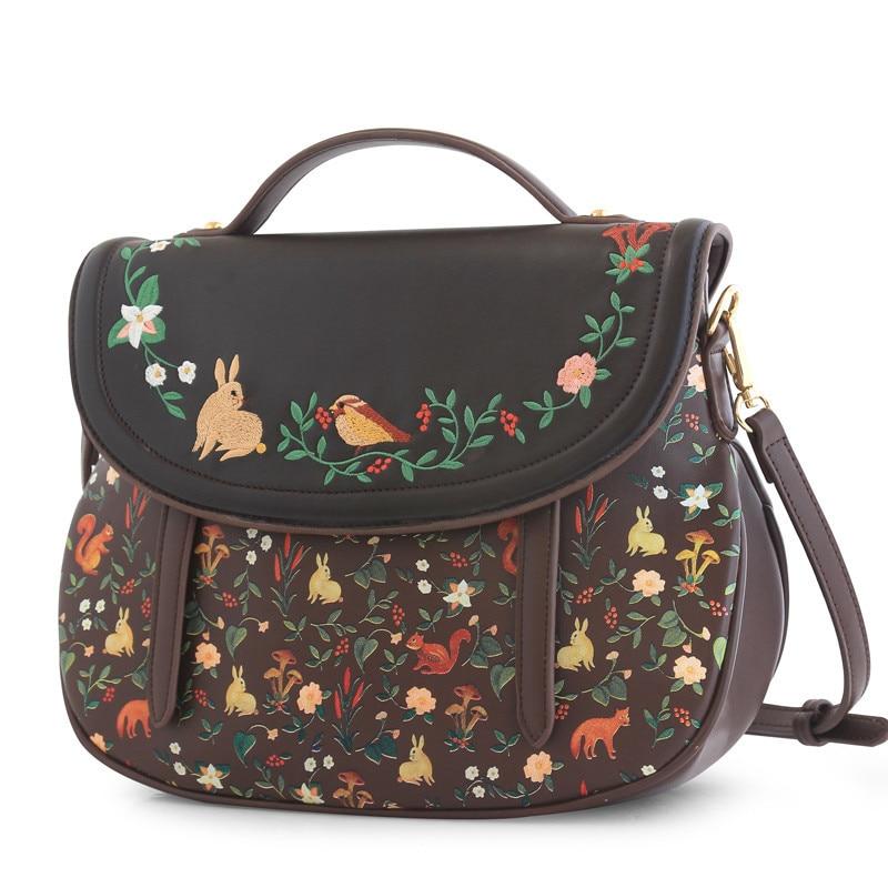 ENSSO Fashion Women Saddle Bag Vintage Embroidery PU Leather Shoulder Bag 3 Ways Used Handbag Back pack Crossbody Bag-in Shoulder Bags from Luggage & Bags    2