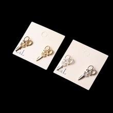 Новое Поступление небольшой Простой Золото и Серебро покрытием ножницы серьги Стержня для женщин Необычные Ювелирные Изделия C1 C2