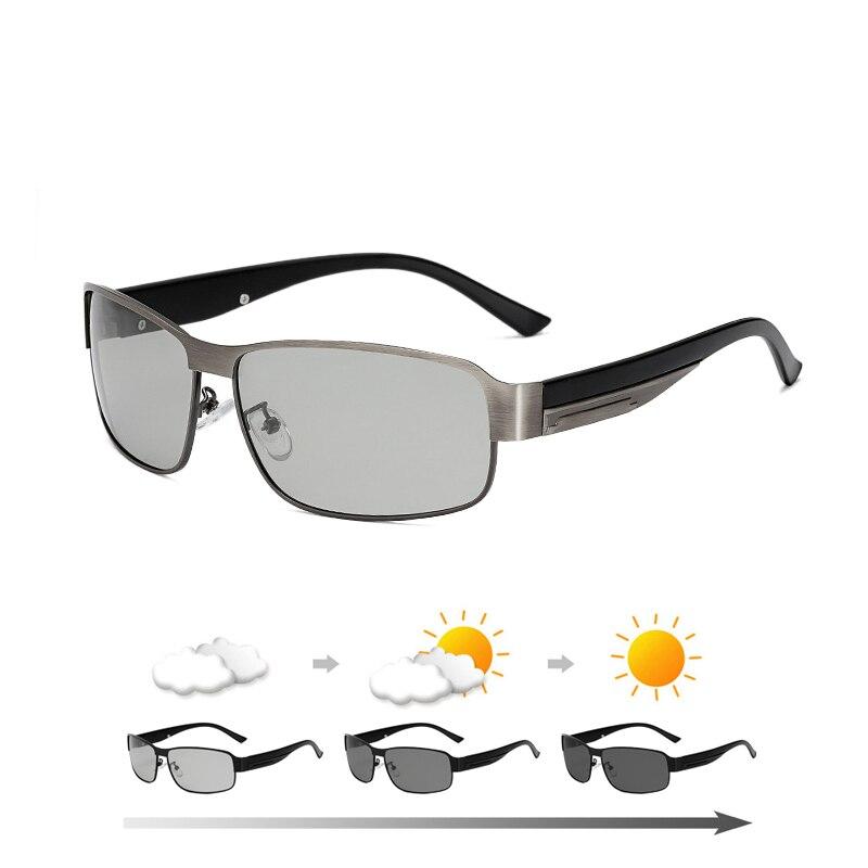 2019 Polarized Photochromic Sunglasses Men Rectangle Day Night Vision Driving Sun Glasses