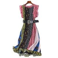 2018 Spring Fashion Designer Runway Summer Dress Women'S Round Neck Ruffled Sleeveless Belt Star Floral Print Slim Chiffon Dress