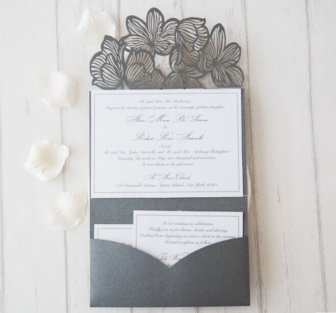 1pcs Sample Hotsell Unique Graceful Flowers Tri-fold Laser Cut Pocket Greeting Card Wholesale Wedding Invitation Cards RC118-303 greeting card