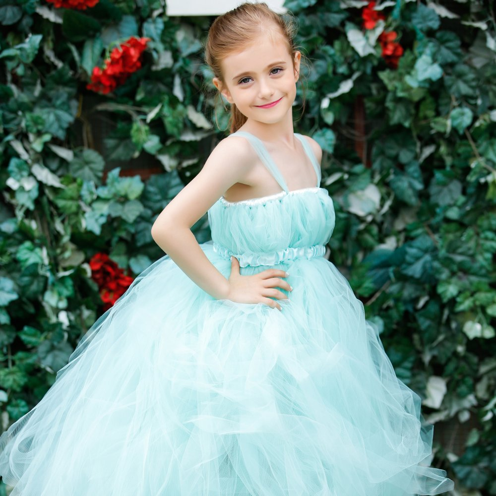 Super Fluffy Tiffanyblue Wedding Girl Flower Dresses With Extra
