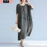 Summer Plus Size Women Dress Solid Print Linen Ruffle Hawaiian Beach Female Casual Vestidos Retro Style