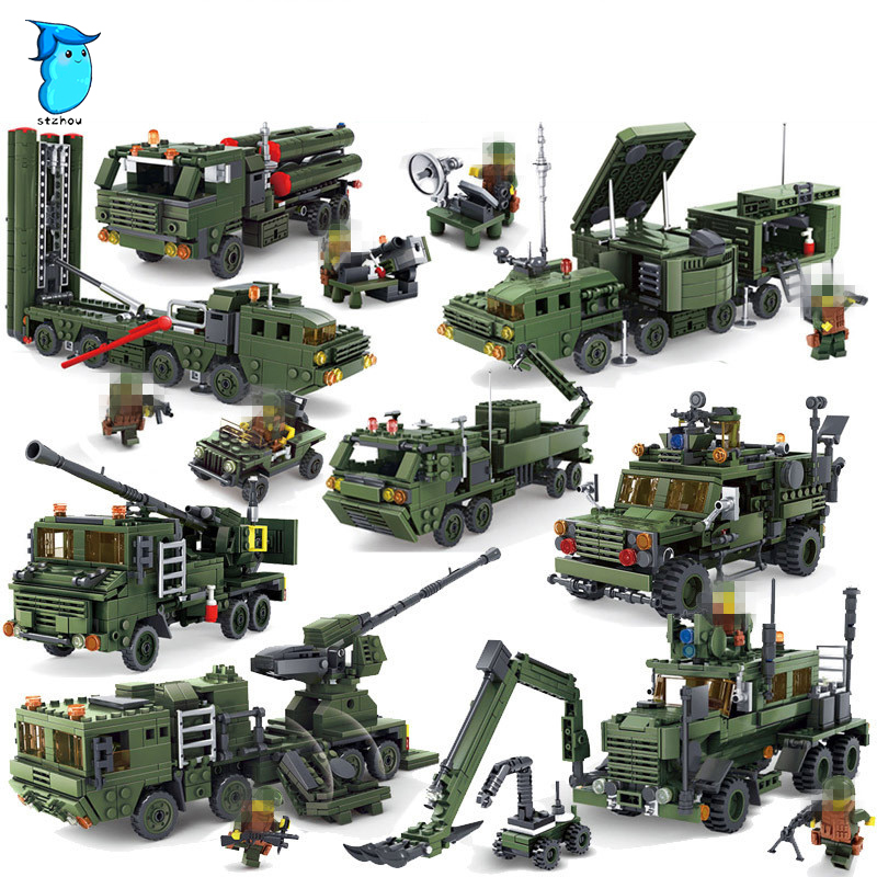 StZhou Building Blocks Field Army Series Missile Launcher Military Bricks Action Figures Educational Toys For Children 8 in 1 military ship building blocks toys for boys