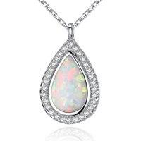 Wysokiej Jakości S925 Sterling Silver Biżuteria Nowa Moda Australia rama Opal Spadek CZ Kryształ Wisiorek Z Naszyjnik Dla Kobiet Prezent
