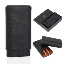 GALINER Leather Cigar Travel Case Portable Cedar Wood Humidor 3 Tubes Holder Box For COHIBA Cigars