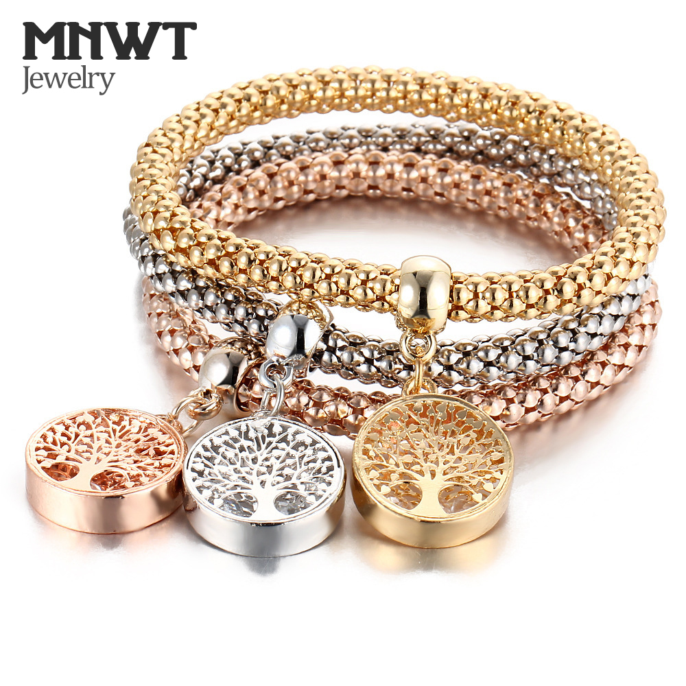 MNWT Stretch Bracelets Alloy Popcorn Chain Crystal Charms Multilayer Bracelet Butterfly Skull Owl Crown Tree Square Woman Jewelr smael 1708b