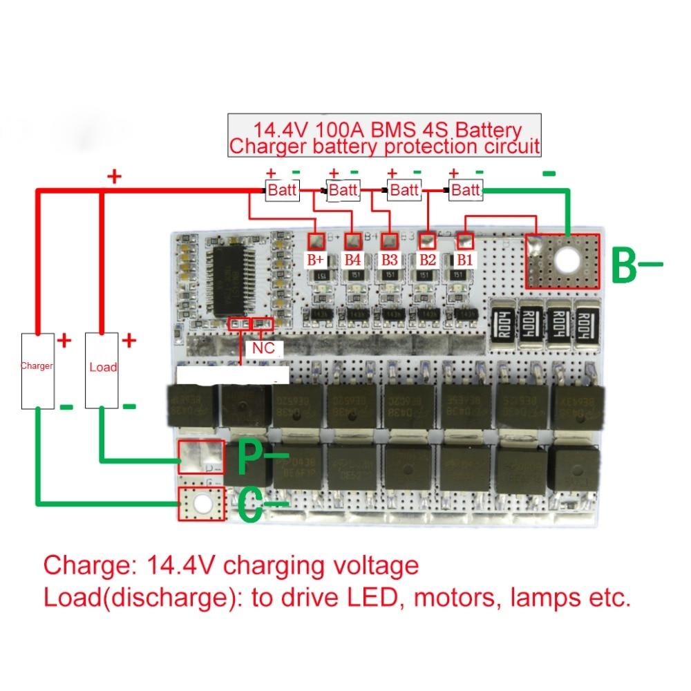 14,4 V 100A BMS 3,2 V 4S Li-Ion LiFePO4 жизни ЖИО литиевых защиты печатной платы для 18650 Батарея пакеты Зарядное устройство Батарея