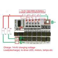14.4V 100A BMS 3.2V 4S Li-ion LiFePO4 durée de vie LMO Circuit de Protection au Lithium PCB pour 18650 batteries chargeur batterie
