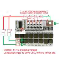 14.4V 100A BMS 3.2V 4S Li-ion LiFePO4 LiFe LMO Lithium Protection Circuit Board PCB for 18650 Battery Packs Charger Battery