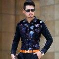 Персонализированные красочные цветы печать золото качества бархат рубашка Bussinees повседневная тонкий бутик рубашку с длинными рукавами мужчины S-XXXL