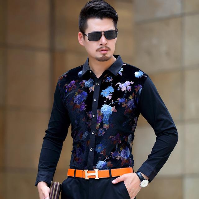 Flores de colores de impresión personalizada camisa de terciopelo dorado calidad Bussinees ocasional delgado boutique de manga larga hombres de la camisa de S-XXXL