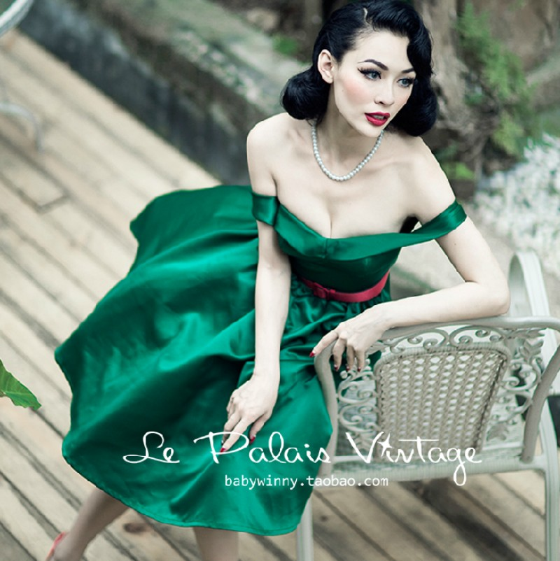 Europe and America Palace Vintage Lady Classic Sexy Slash Neck Low Cut Emerald One Piece Dress Tube Top Dress