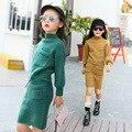 Девушки комплект одежды весна осень вязать Свитер из двух частей девочек-подростков одежда детская одежда набор 3-13 Т дети одежда костюм