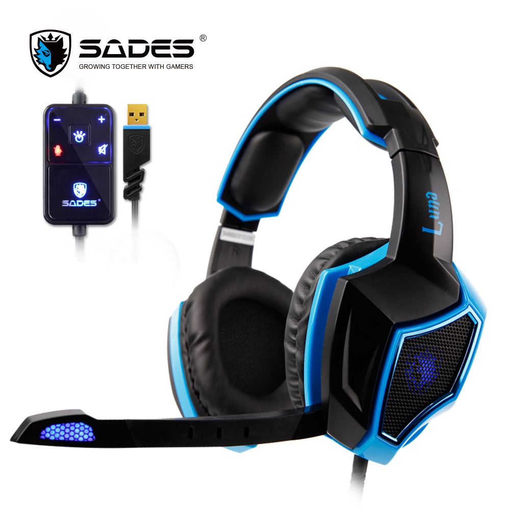 SADES LUNA Virtual 7.1 Surround Sound headphones Cool Headset Professional Computer Gaming Headphone with Flexible Microphone sades wolfang virtual 7 1 surround sound headphones rotatable microphone headband headphone headset for video game