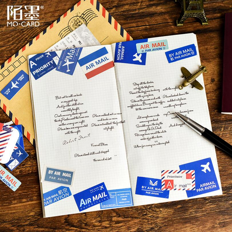 45 pcs/box Air mail Plane Diary Memo Pad Diary Label sticker Kawaii Planner Scrapbooking Stationery Escolar School Supplies 4