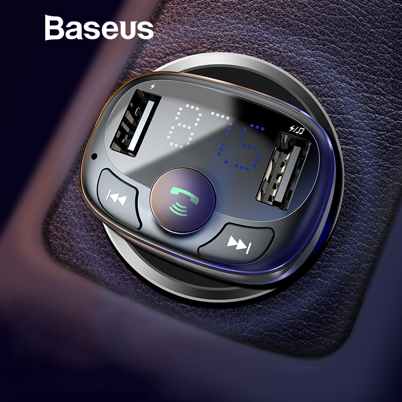 Baseus Car Charger for iPhone Mobile Phone Handsfree FM Transmitter Bluetooth Car Kit LCD MP3 Player Dual USB Car Phone Charger nokia 8 new 2018
