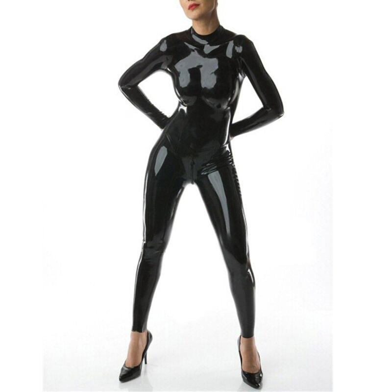 Sexy Femmes Latex Combinaisons de Caoutchouc Avec Retour Zipper Fetish Salopette Gummi 0.4mm