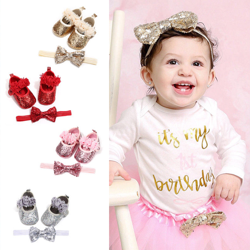 Bowknot Sequins Baby Shoes and Headband Set